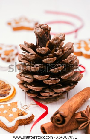 Cone, Christmas cookies and spices for holiday decorations