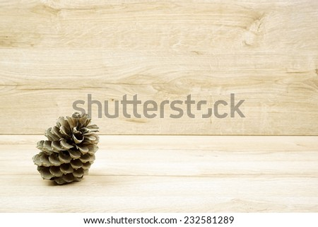 Cone on the wooden background - stock photo
