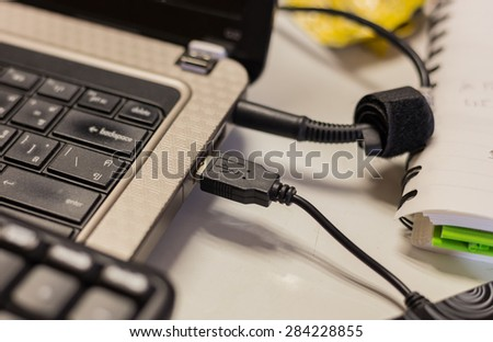 Conection port attach on computer - stock photo