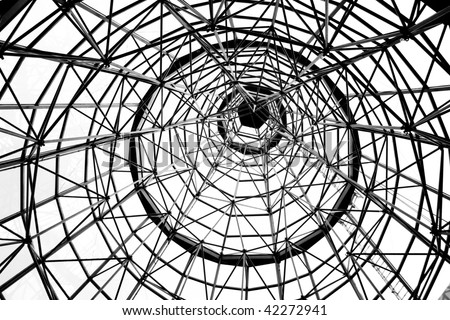 Coned shaped metallic structure on a white background - stock photo