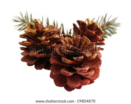 Cones Christmas ornament with isolated background. - stock photo