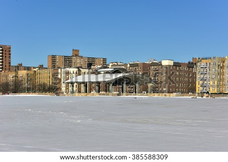 Coney Island Beach in Brooklyn, New York after a major snowstorm.