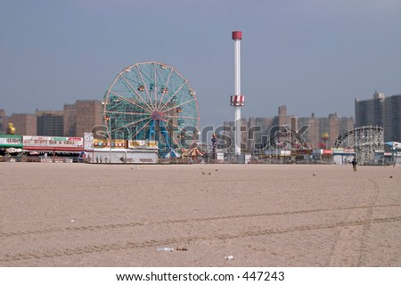 Coney Island from the beach - stock photo