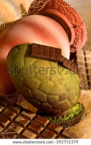 Confectionery Easter eggs with chocolate - stock photo