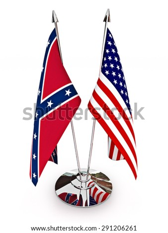 Confederate and American flags isolated on a white background. - stock photo