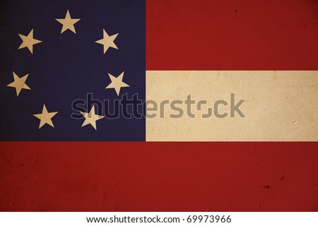 Confederate army's first national flag. Vintage background.