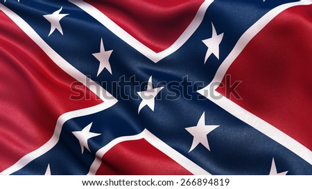 Confederate Battle Flag or St Andrews Cross waving in the wind.  - stock photo