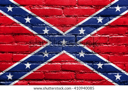 Confederate Flag, painted on brick wall - stock photo
