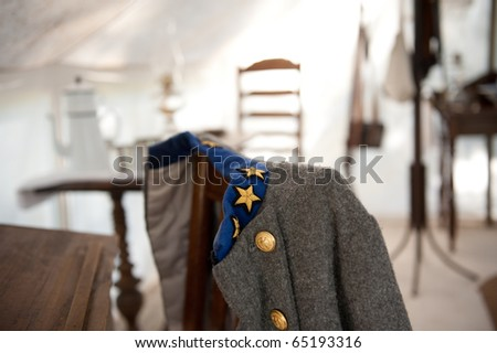 Confederate Solider Uniform at Oak Alley Plantation - stock photo