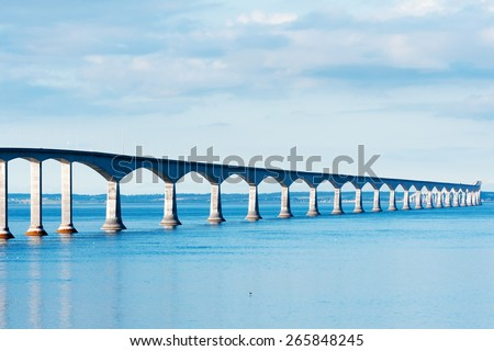 Confederation bridge linking the provinces of New Brunswick and Prince Edward island - stock photo