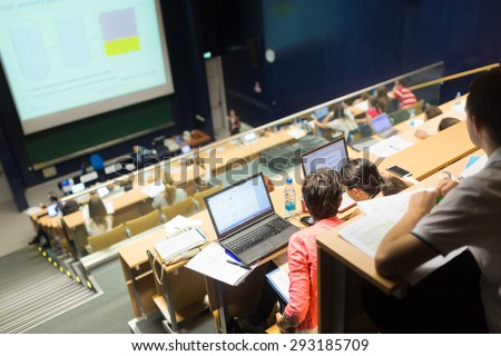 Conference and Presentation. Audience at the conference hall. Business and Entrepreneurship. Faculty lecture and workshop. Audience in the lecture hall. Academic education.  - stock photo