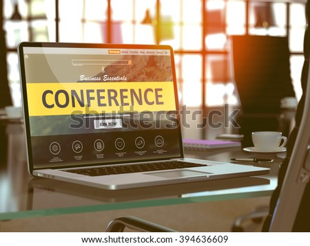 Conference Concept Closeup on Laptop Screen in Modern Office Workplace. Toned Image with Selective Focus. 3D Render.