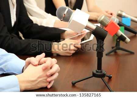 Conference meeting microphones - stock photo