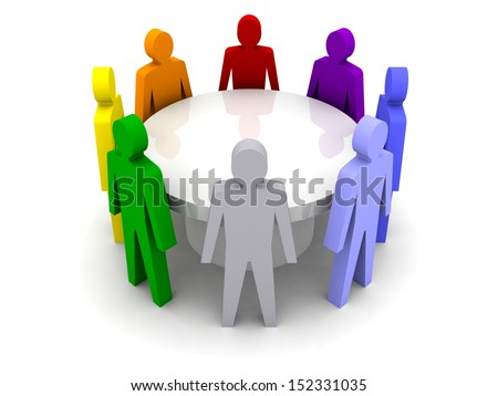 Conference of different people. Concept 3D illustration - stock photo
