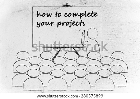 conference, presentation, or school class with lecturer depicting how to complete your projects - stock photo