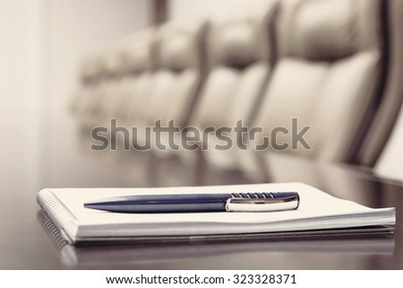 Conference room before meeting, beige toning  - stock photo