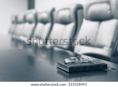 Conference room before meeting, blue toning - stock photo