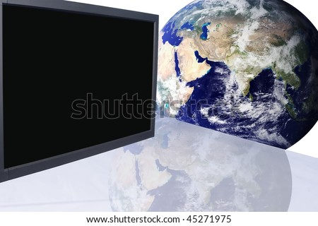 Conference room in office building with advanced communication equipment an globe - stock photo