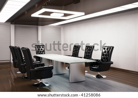 conference room interior 3d render - stock photo