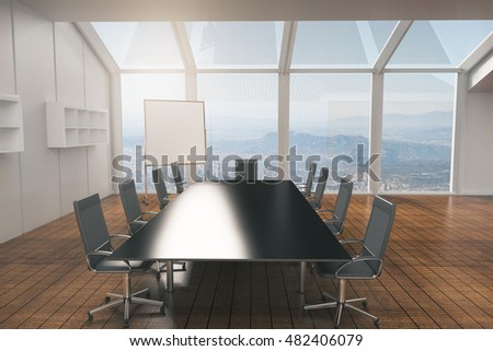 Conference room interior design with furniture, wooden floor, concrete walls and panoramic window with city view. 3D Rendering