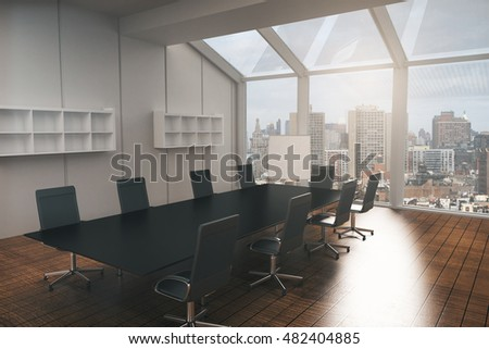 Conference room interior with furniture, wooden floor, concrete walls and panoramic window with city view. Side view, 3D Rendering
