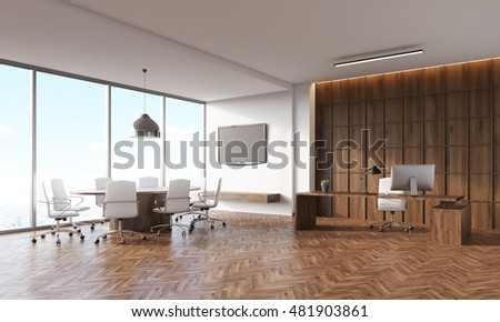 Conference room interior with round and rectangular tables, panoramic window, tv set on wall. Concept of legal company office. 3d rendering. Mock up