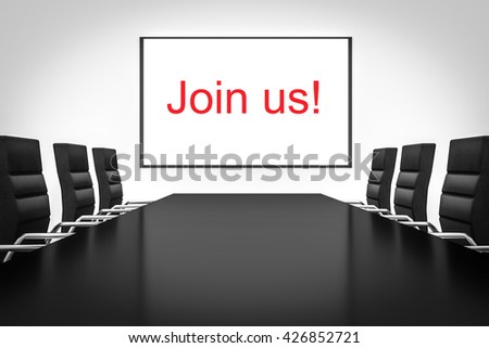 conference room large whiteboard join us 3D illustration - stock photo