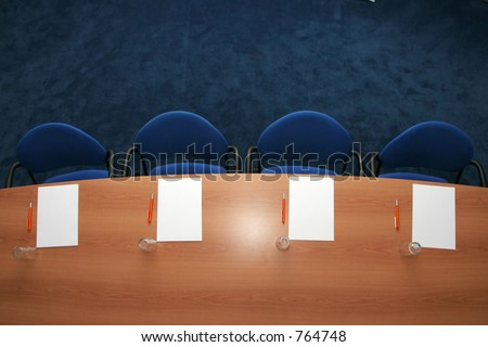 Conference room ready for a meeting from above - stock photo