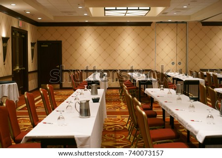 Conference room set up with tables glasses and water & Conference Room Set Tables Glasses Water Stock Photo (100% Legal ...