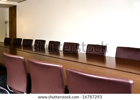 Conference room table shot in natural light