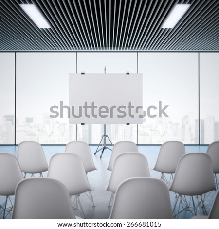 Conference room with blank screen. 3d rendering - stock photo
