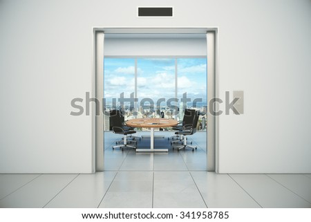 Conference room with city view is appeared from the elevator doors 3D Render - stock photo