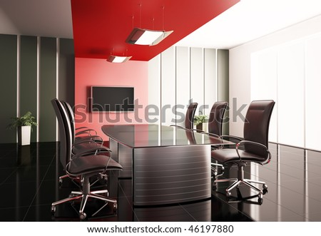 conference room with lcd tv interior 3d render - stock photo