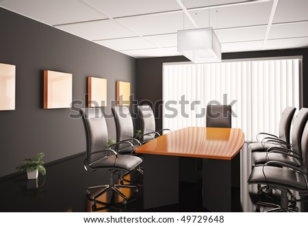 conference room with orange table 3d render - stock photo