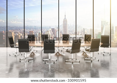 Conference room with round table, chairs, concrete floor, windows in floor and city view 3D Render - stock photo