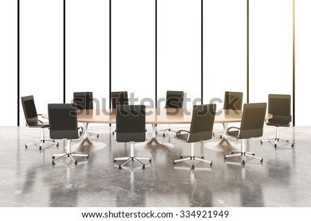 Conference room with round wooden table, chairs and concrete floor 3D Render - stock photo