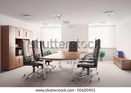 conference room with wooden furniture interior 3d - stock photo