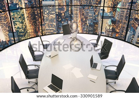 Conference room with wooden table and beautiful city view at evening 3D Render - stock photo