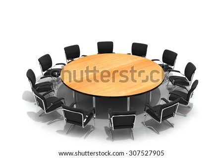 conference round table and chairs - stock photo