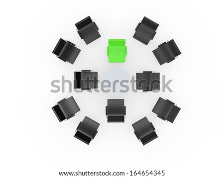 Conference round table and office chairs with green standing out from crowd in meeting room, isolated on white background. - stock photo