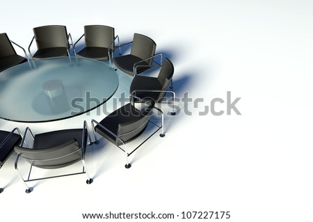 Conference table and chairs on white background - stock photo