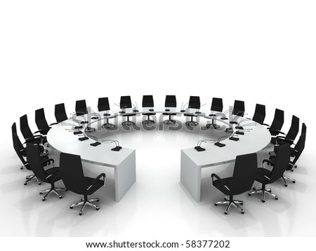 conference table and chairs with microphones isolated on white background - stock photo