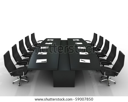 conference table and chairs with papers and pens isolated on white background - stock photo
