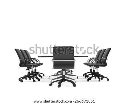 Conference table and office chairs. Isolated render on white background - stock photo