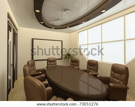 Conference table. Business meeting room in office with big window. interior - stock photo