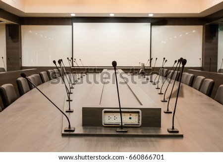 Conference Table Microphone And Office Chairs Meeting Room For Background