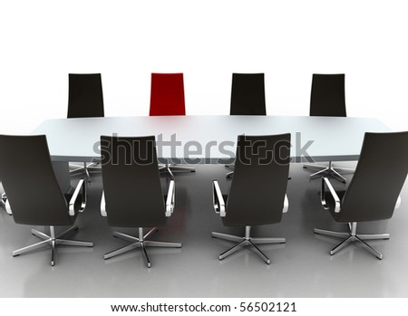 Conference Table - single red chair - stock photo