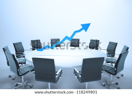 Conference table with a 3d chart - business outlook concept - stock photo