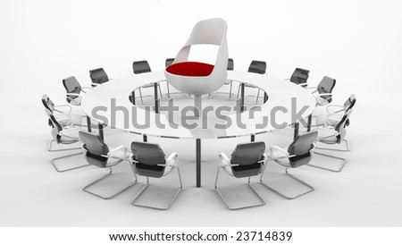Conference Table with boss chair - stock photo
