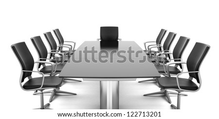 Conference Table with chairs isolated on a white background - stock photo